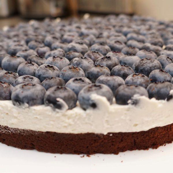 Schoko Vanille Blaubeerkuchen